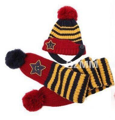 Новинка; Милая зимняя Детская шерстяная шапка с пентаграммой; Милая зимняя шапка с ушами и улыбающимся лицом; теплая шапка с рукавами для малышей; шарф; головной убор; комплект - Цвет: F