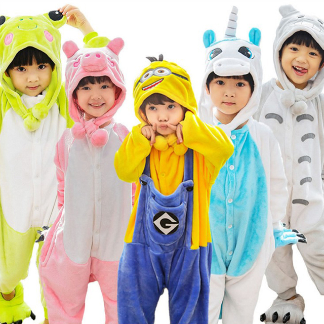 Children's Pajamas Flannel Spring  Autumn Baby Animal Pajamas One Piece Unicorn Stitch Pikaqiu KT Boys Girls Pyjamas Sets