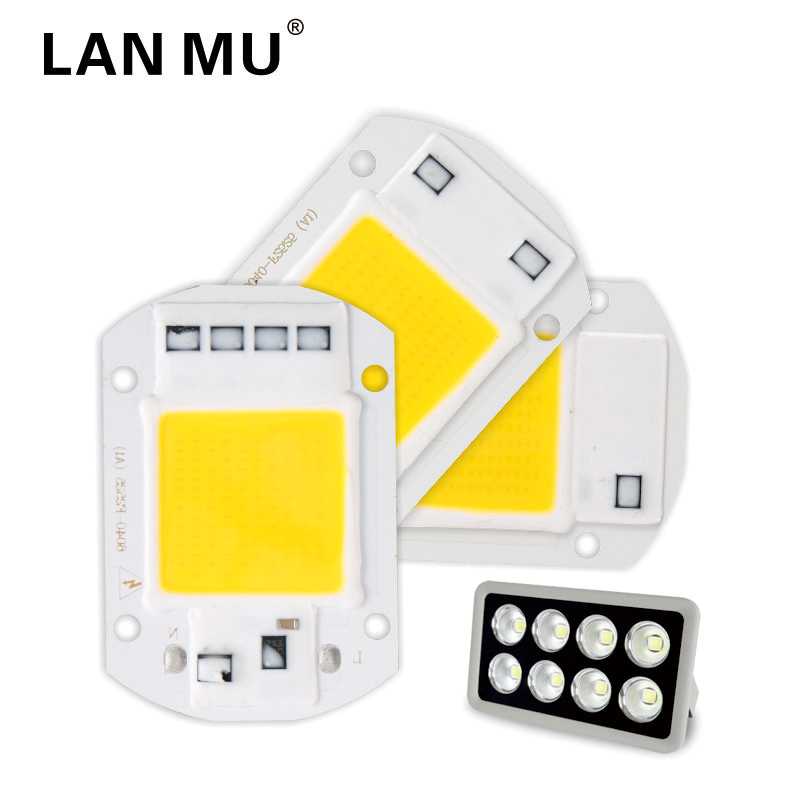 LAN MU LED COB Chip 50W 40W 30W 20W 10W AC 220V 110V No Need Driver Smart IC Bulb Lamp For DIY LED Floodlight Spotlight