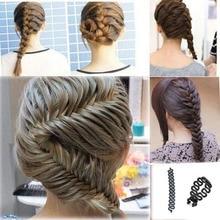 ФОТО fashion women lady french hair braiding tool braider roller hook with magic hair twist styling bun maker hair band accessories