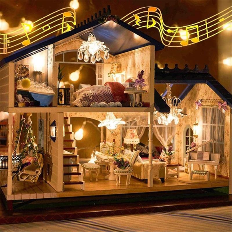 Música led luz miniatura casa de boneca provence casa de bonecas diy kit de madeira modelo de casa brinquedo com móveis aniversário presentes natal