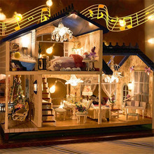 Music LED Light Miniature Doll House Provence Dollhouse DIY Kit Wooden House Model Toy with Furniture Birthday Christmas Gifts цена