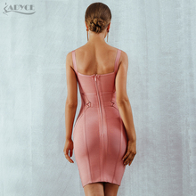Adyce Women Bandage Dress Vestidos Verano 2018 New Arrival Pink Celebrity Party Dresses Spaghetti Strap Hollow Out Runway Dress