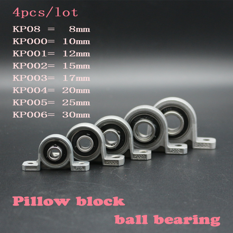 4pcs Zinc Alloy Diameter 8mm to 30mm Bore Ball Bearing Pillow Block Mounted Support KFL08 KFL000 KFL001 KP08 KP000 KP001 KP002 цена 2017