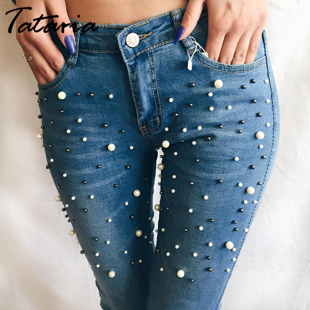 86a108762ea Denim Women Skinny Jeans With Pearls Pants Slim Femme Beading Pearl Jeans  Woman 2019 With beads