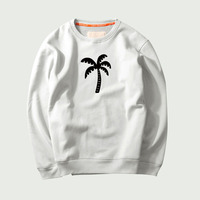 Coconut Tree Creative Cotton Print Hoody For Men's Big Size Coco Silhouette O Neck Long Sleeved Comfortably White Sweatshirt