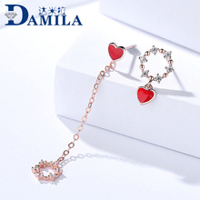 Red heart earrings silver 925 with Cubic Zironia stone Asymmetry leaf flowers S925 sterling silver earrings jewelry for women