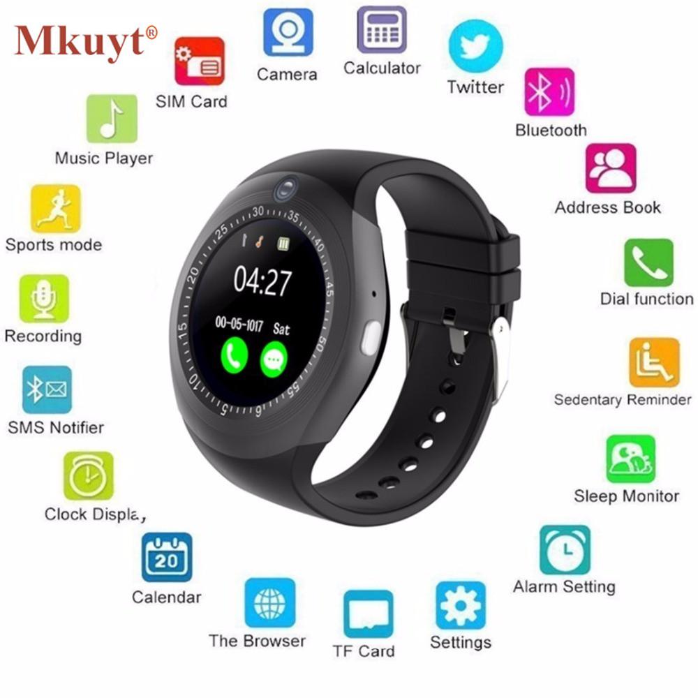 MKUYT Wireless Bluetooth Smart Watch Round with SIM TF Card Slot Camera Business Watch for Women Men Kids Boys Girls PK A1 DZ09
