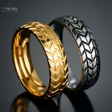 6mm Stainless Steel Tire Rings for Men Women Geometric Striped Engraving Gold Silver Color Tyre Rings Jewelry 12Pcs Wholesale