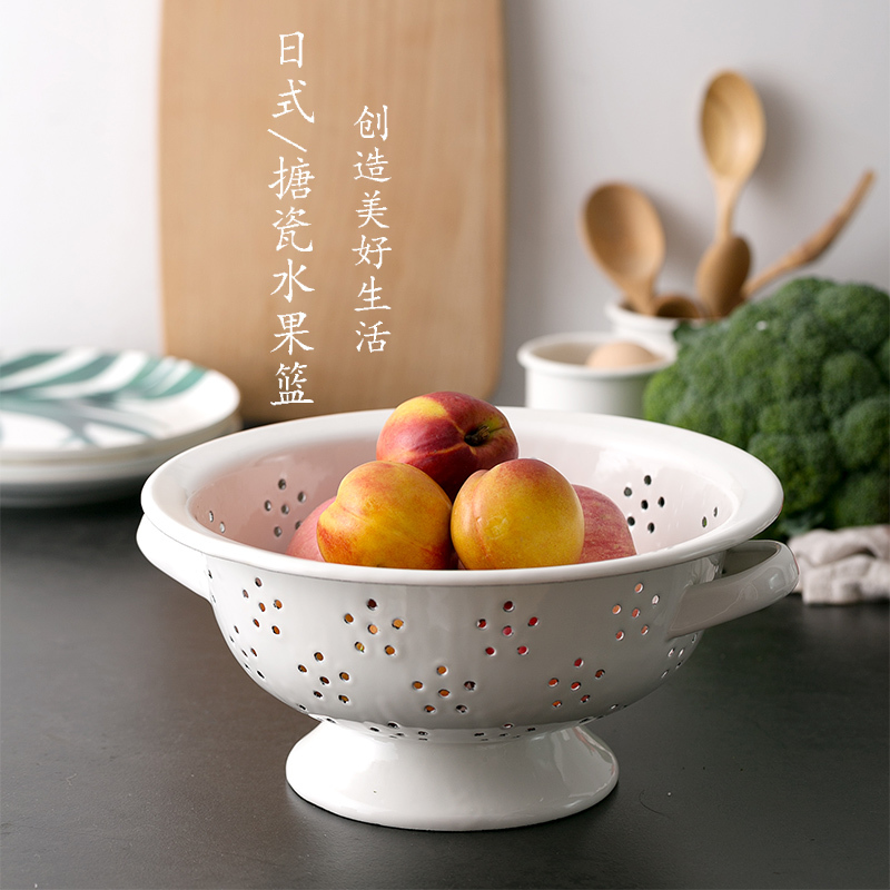 Panier à fruits créatif en porcelaine | Épaissi nordique simple porcelaine émail plateau à fruits multifonctionnel ménage snack stockage des aliments