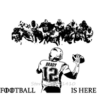 Football Is Here Large Size Wall Sticker Home Decor Living Room American Football Player Wall Art