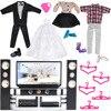 E TING Fashion Ken Doll Clothes Playset Unisex Suit Mini Dress Tuxedo Wedding Party Gown For