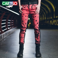 CARTELO men new men's personality printed long jeans men's jeans painted casual Slim fashion trousers