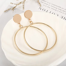 b528179e213e 2018 de moda oro Color plata geométrico grande redondo círculo pendientes  para las mujeres de moda
