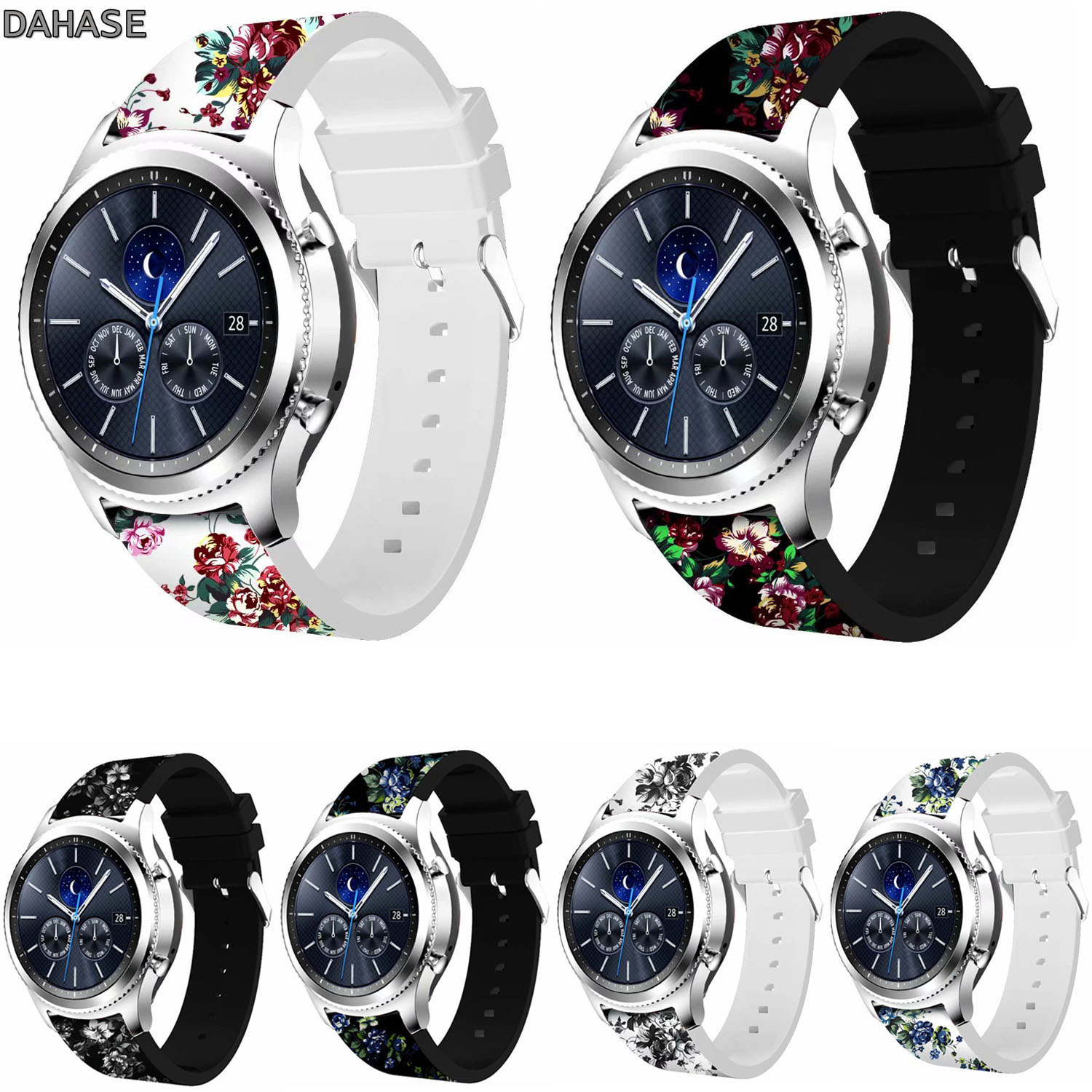 22mm Floral Silicone Watch Strap for Samsung Gear S3 Classic S3 Frontier Band Bracelet for Samsung Galaxy Watch 46mm Strap 18 colors rubber wrist strap for samsung gear s3 frontier silicone watch band for samsung gear s3 classic bracelet band 22mm