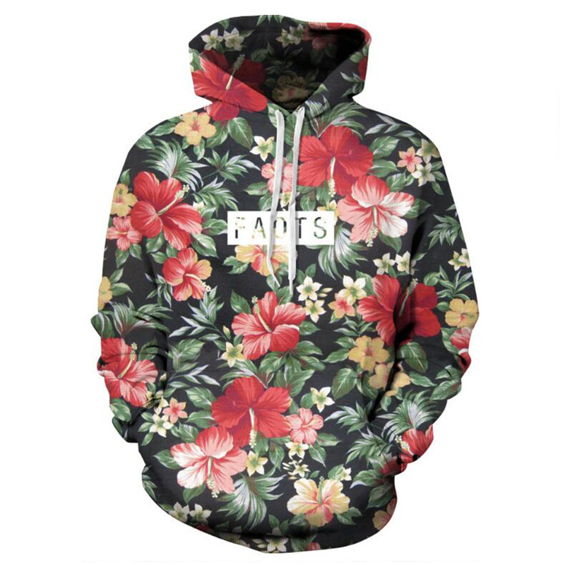 Rimiut Autumn Winter Fashion Men/women Hoodies With Cap Print Red Flowers Green Leaves 3d Hooded Sweatshirts Hoody Tracksuit