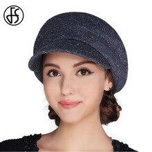 FS Boina de fieltro de lana francesa para Mujer, sombrero plano, gorros Vintage para Mujer, sombrero femenino para Invierno