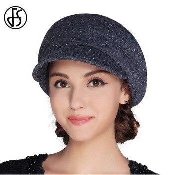 FS mujeres francés de fieltro de lana sombrero de la Boina de tapa plana Otoño  Invierno Vintage Mujer gorras sombrero capeu Feminino Boina Mujer Invierno 12f4924ad5c