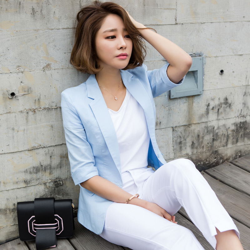 Slim Blazer Suit Autumn Button Sleeve Jacket Female One Outerwear Fashion Linen Coat 3 Spring Half New 2 Women 1 Cotton 4 PzqSY5x