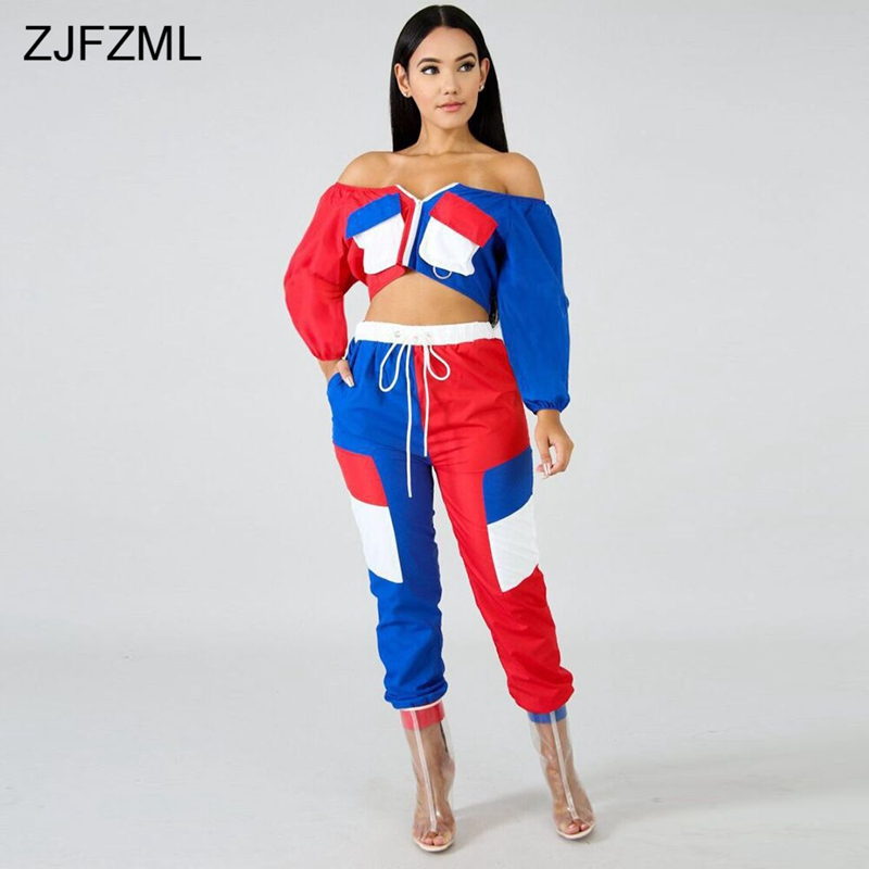 3acbb73cf87d ZJFZML Casual Two Piece Set Women Off The Shoulder Full Sleeve Crop Top And  Mid-Claf Pant Autumn Outfits Streetwear 2 Piece Sets | Shop The Latest  Trends
