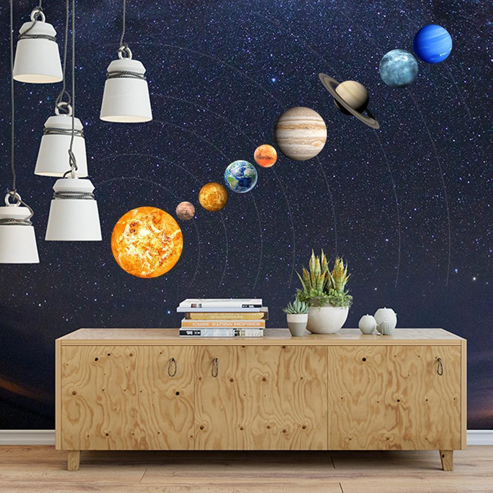 9pcs Waterproof Planets Stars Wall Stickers Kids Glow in the Dark Decorative Decals Drop Shipping(China)