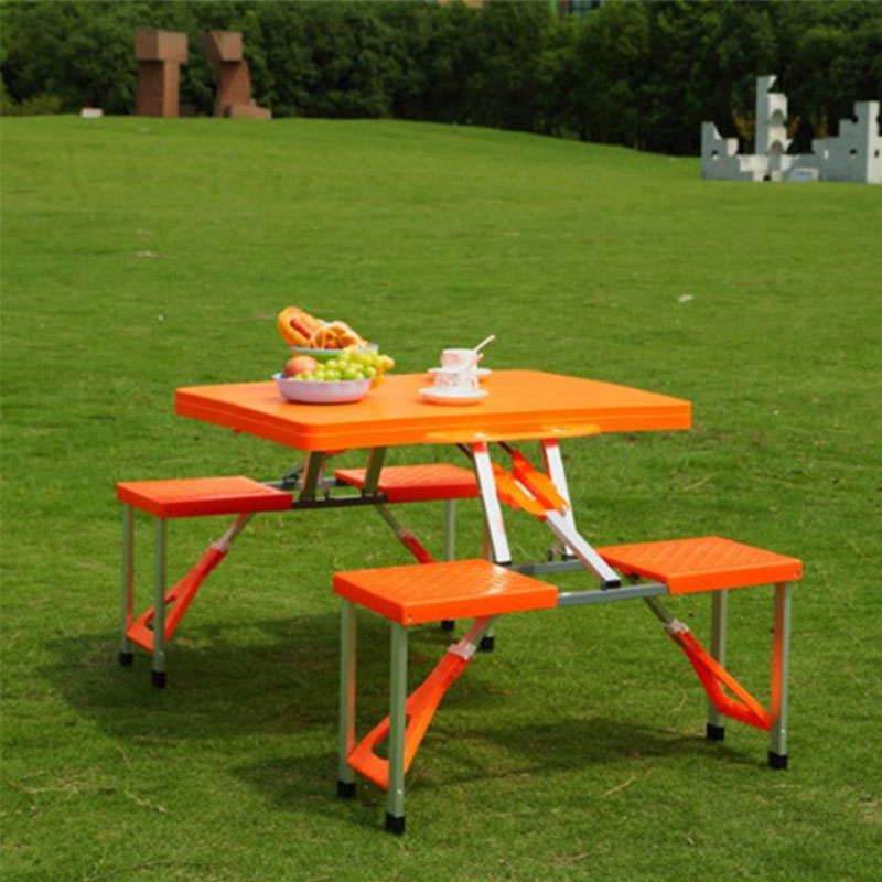 Multi-function Folding Picnic Table And Chair Orange ABS Convenient To Carry Set Of Table And 4 Chairs Indoor & Outdoor