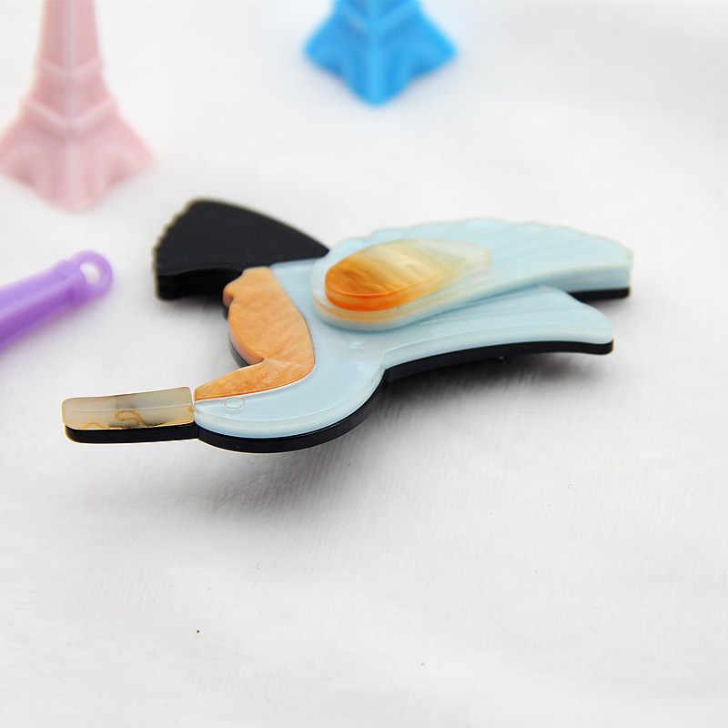 FishSheep Lucu Burung Bros Untuk Wanita Anak Vintage Acrylic Resin Hummingbird Pin Dan Bros Jilbab Pin Aksesoris Wanita