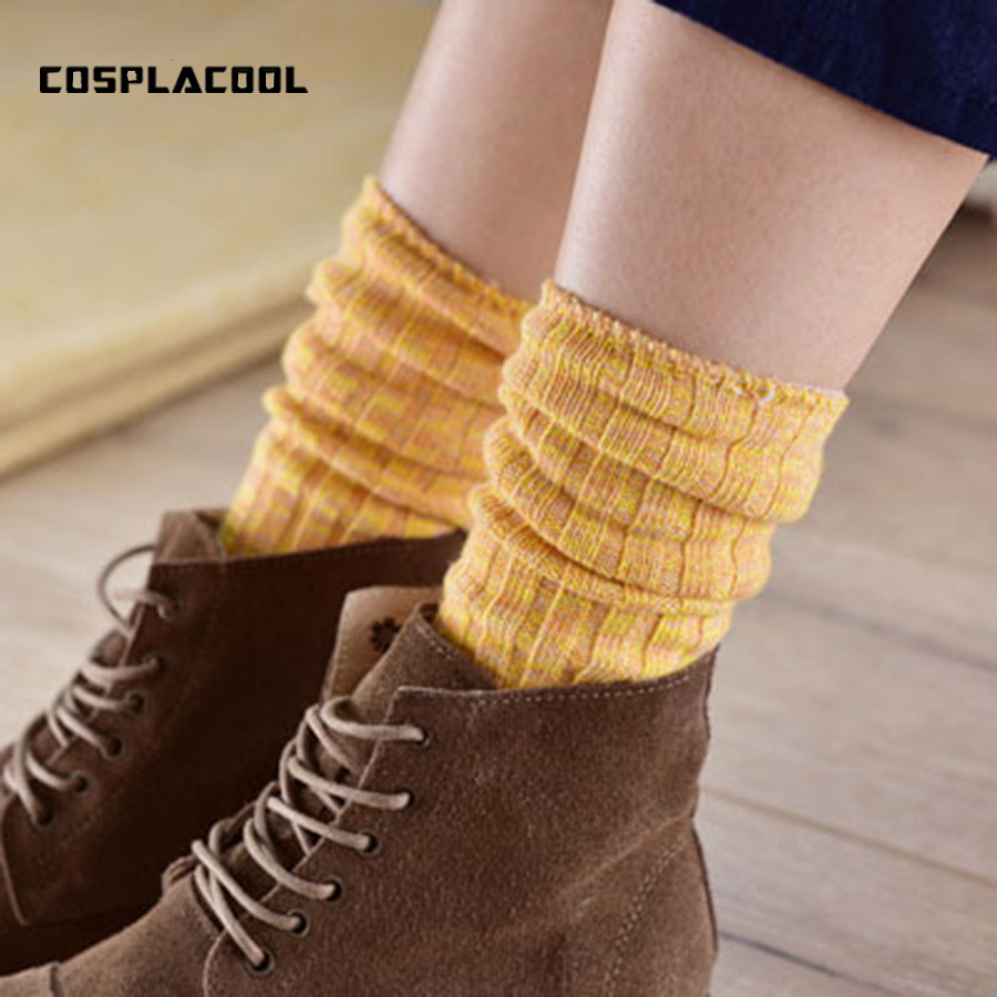 [COSPLACOOL]High quality colorful cotton yarn warm autumn winter thick Heap heap   socks   women long harajuku boot ladies   socks