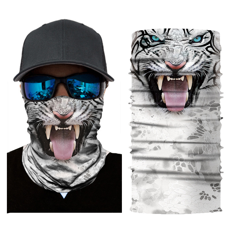 Breathable soft outdoor sports riding fishing sunscreen 3d animal digital printing headscarf magic seamless variety scarf mask