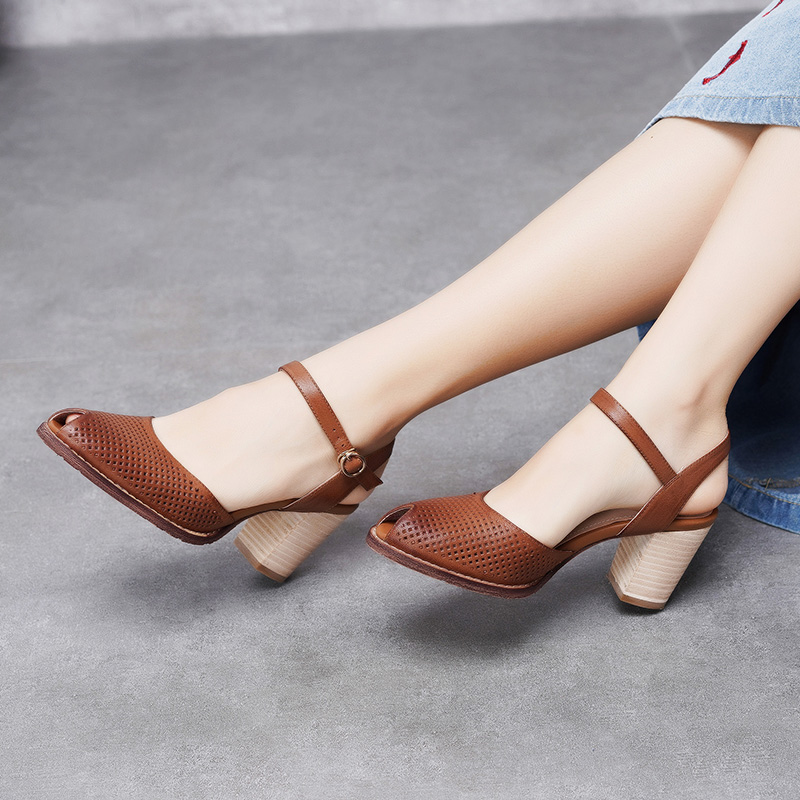 2019 VALLU Peep Toes Women Shoes Sandals Genuine Leather Block Heels Ankle Strap Buckle Handmade Retro