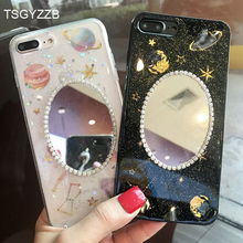 Phone Case For iphone X 10 8 Plus 6 6S Cases Silicone New Luxury Rhinestone Planet Mirror Soft TPU Back 7 Covers
