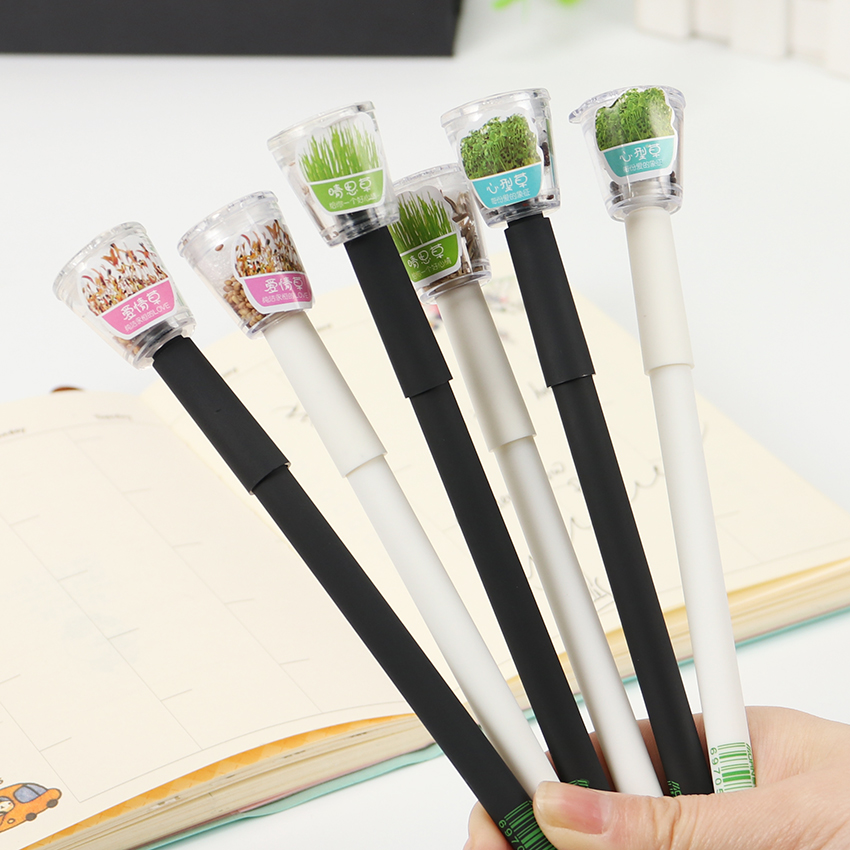 Cute Garden Grow Grass Gel Pen Kawaii Korean Stationery Creative Gift School Supplies 0.5mm Plant Gel Pen