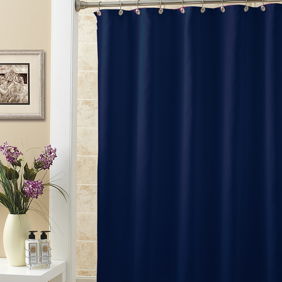 Dark knight shower curtain - Dark Blue Terylene Fabric Waterproof Bathroom Shower Curtain Solid Color China Mainland