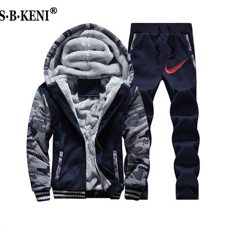 2019 hiver nouveaux hommes fourrure à l'intérieur ensembles chauds survêtements hommes épais polaire vestes + pantalon Camouflage costume sport Hoodies Sweatshirts