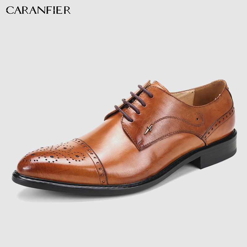 CARANFIER Mens Dress Shoes Genuine Leather Solid Carved Pattern Oxford Soft Comfortable Business Formal Shoe Plus Size 37-46CARANFIER Mens Dress Shoes Genuine Leather Solid Carved Pattern Oxford Soft Comfortable Business Formal Shoe Plus Size 37-46
