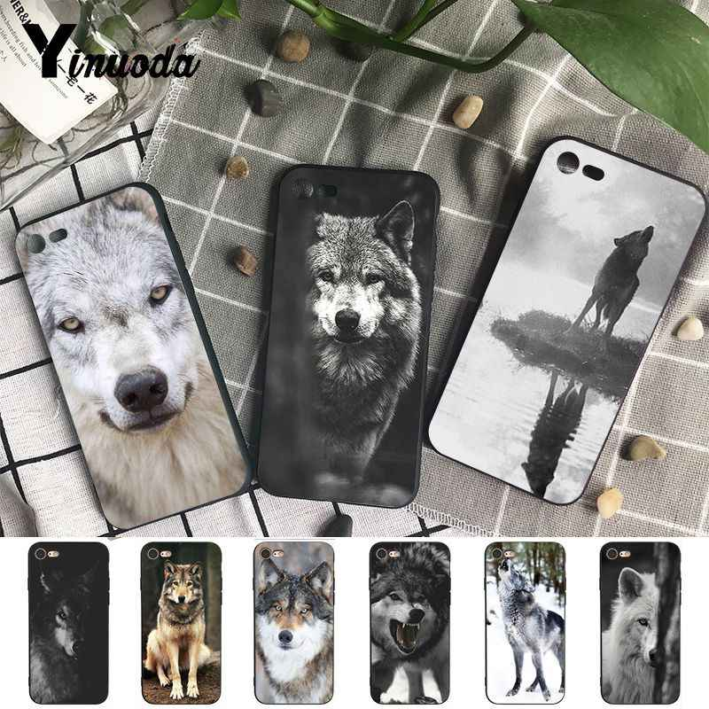 Yinuoda Para iphone 7 X Caso Legal Lobo Animal Preto e Branco Caso de Telefone para o iphone X 6 7 6 de Primeira Linha s 7plus 8 8Plus 5 5S XS XR