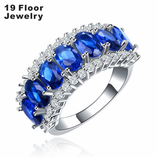 White gold plated rings for women engagement sapphire jewelry wedding classic fashion party bijoux FSR1325