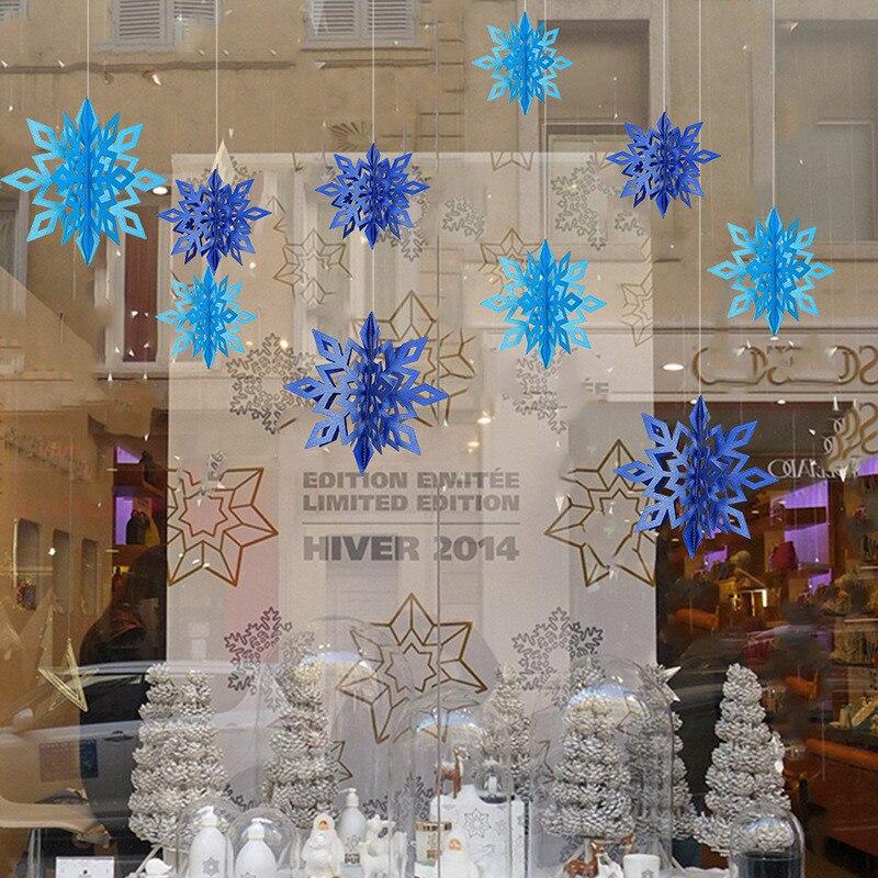 6pcs Glitter Christmas 3D Hollow Snowflake Ornaments Xmas Tree Hanging Decor