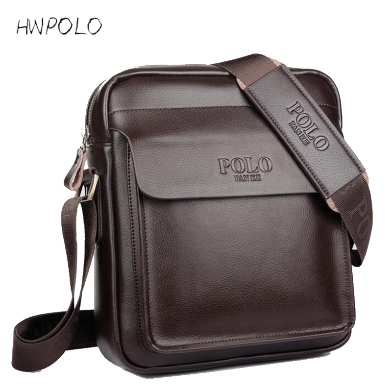 2016 Fashion POLO Men Messenger Bag Genuine Leather Bag Designer Famous Brand High Quality Shoulder Bag