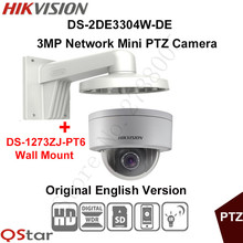 Hikvision Original English PTZ DS-2DE3304W-DE 3MP Mini PTZ IP Camera IP67 PoE Day/Night Security Camera+Wall Mount DS-1273ZJ-PT6