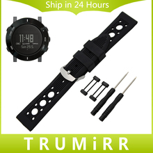 24mm Silicon Rubber Watchband + Lug Adapter + Toool for Suunto Core Smart Watch Band Wrist Strap Stainless Steel Buckle Bracelet