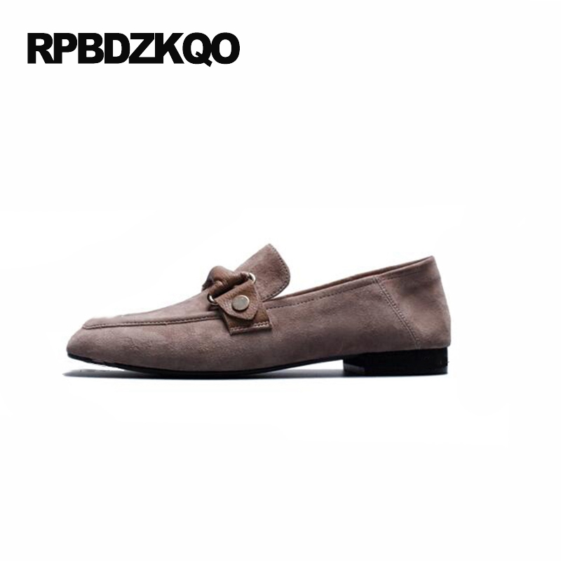 Casual Genuine Leather Flats Ladies Beautiful Shoes Leisure Women Comfortable 2017 Square Toe Loafers Slip On Embellished Suede top brand high quality genuine leather casual men shoes cow suede comfortable loafers soft breathable shoes men flats warm