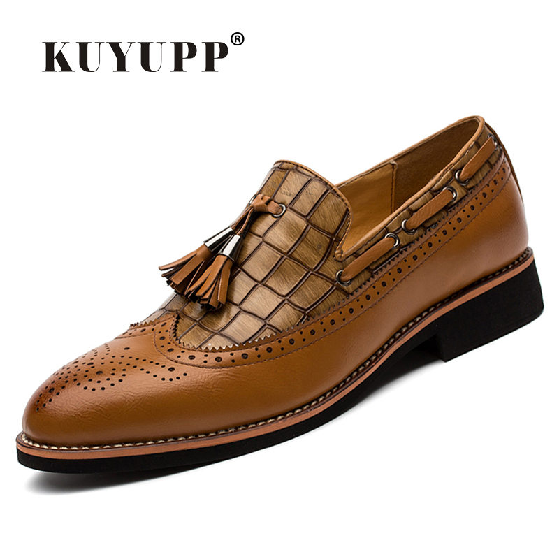 KUYUPP 2016 Fashion Men Full Brogue Shoes Flat Heels Tassel font b Oxfords b font Round