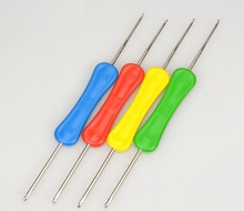 3 PCS Practical Double Crochet The Plastic Handle Textile Tools Available On Both Side Knitting Needles Hand Sewing Costura