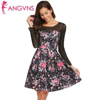ANGVNS Women Mesh Patchwork Dress Party O Neck High Waist Long Sleeve Slim Print Pleated A