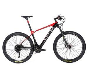 27.5 polegadas de fibra de carbono montanha bicicleta elétrica freio a disco 27.5*2.1 pneus 11 velocidade bicicleta elétrica e-bike power-assisted