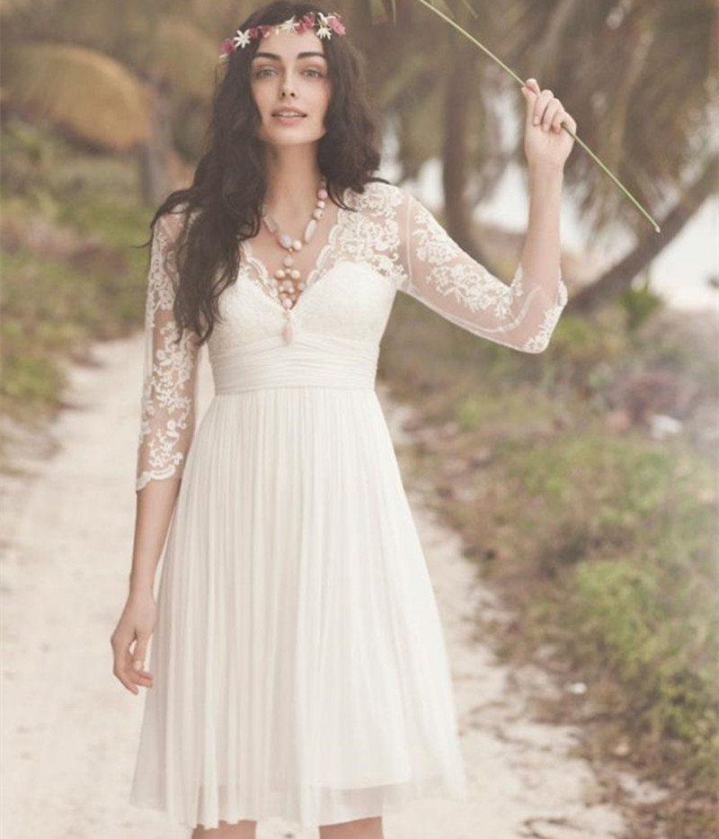 Bride Gowns 2015: 3/4 Sleeves Knee Length Wedding Dresses White Lace Dresses