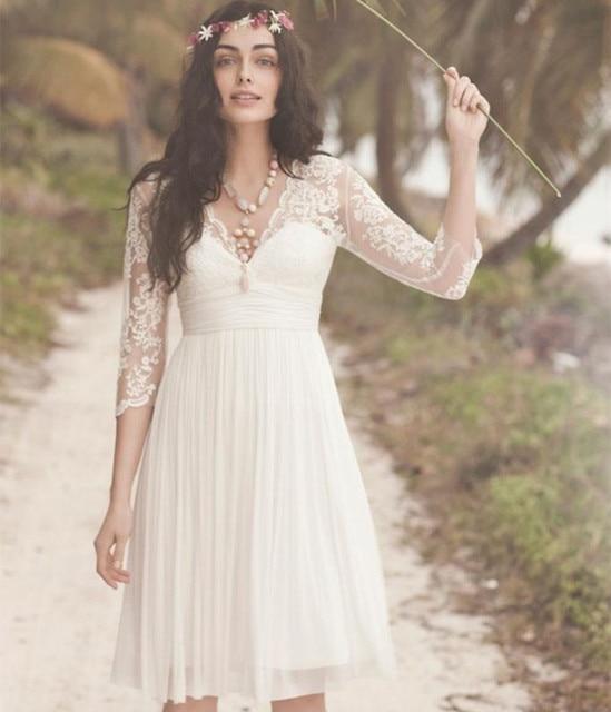 Aliexpress.com : Buy 3/4 Sleeves Knee Length Wedding Dresses White ...
