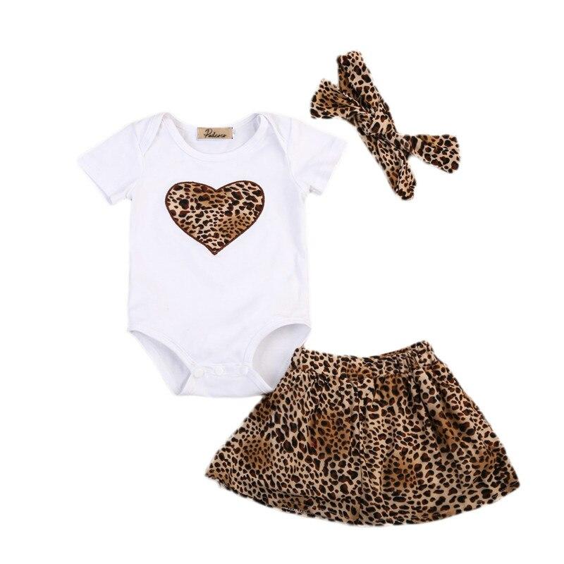 Cute Infant Newborn Baby Girls Cotton Love Print Tops Romper Leopard Skirts Dress Headband 3Pcs Outfits Kids Clothing Set 0-2Y