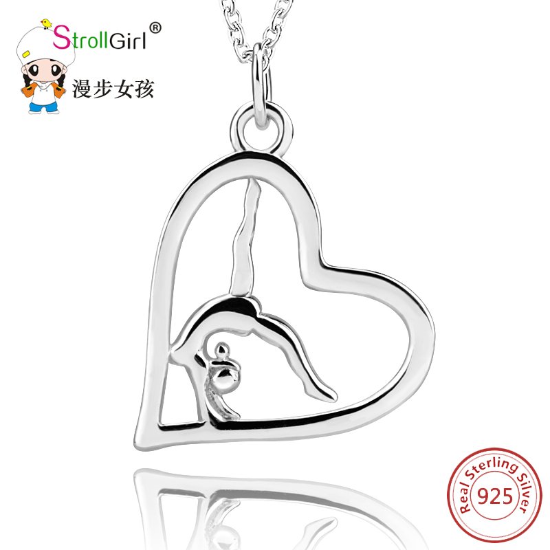 Sport Love Heart 925 Sterling Silver Pendant&Necklace Jewelry Beauty Gymnastics Women Pendant Necklace For Women Engagement Girl original dropshipping my sweet pet paw love necklace girl 925 sterling silver pendant necklace for women fashion jewelry gifts